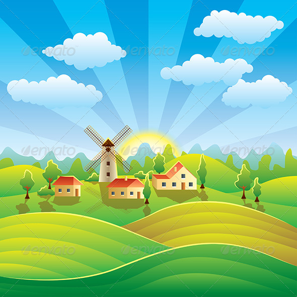 Rural Landscape with Houses and Summer Fields - Landscapes Nature