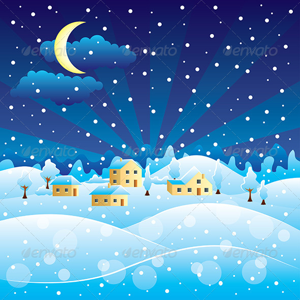Winter Rural Landscape with Christmas Snowfall - Christmas Seasons/Holidays