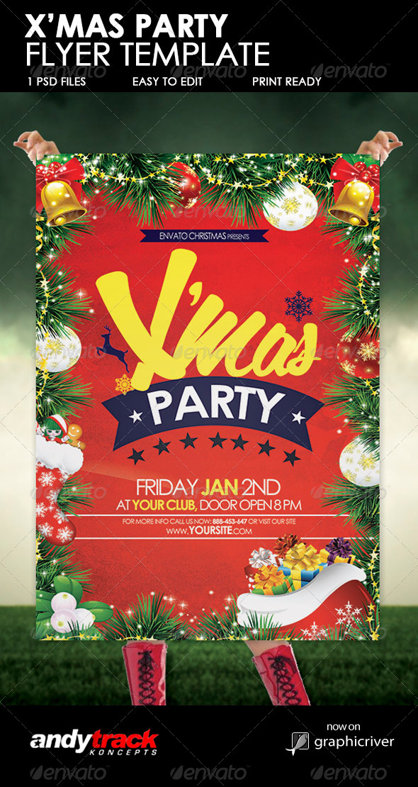 Christmas Party Flyer Template By Andytrackghana Graphicriver