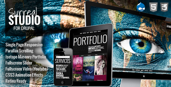 Surreal - One Page Parallax Drupal Theme