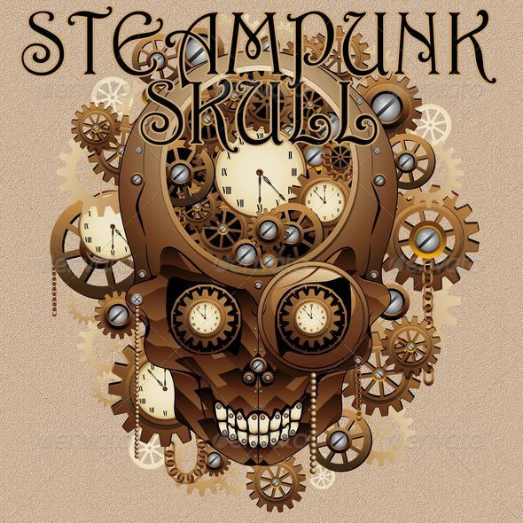 Steampunk Skull Vintage Style - Retro Technology