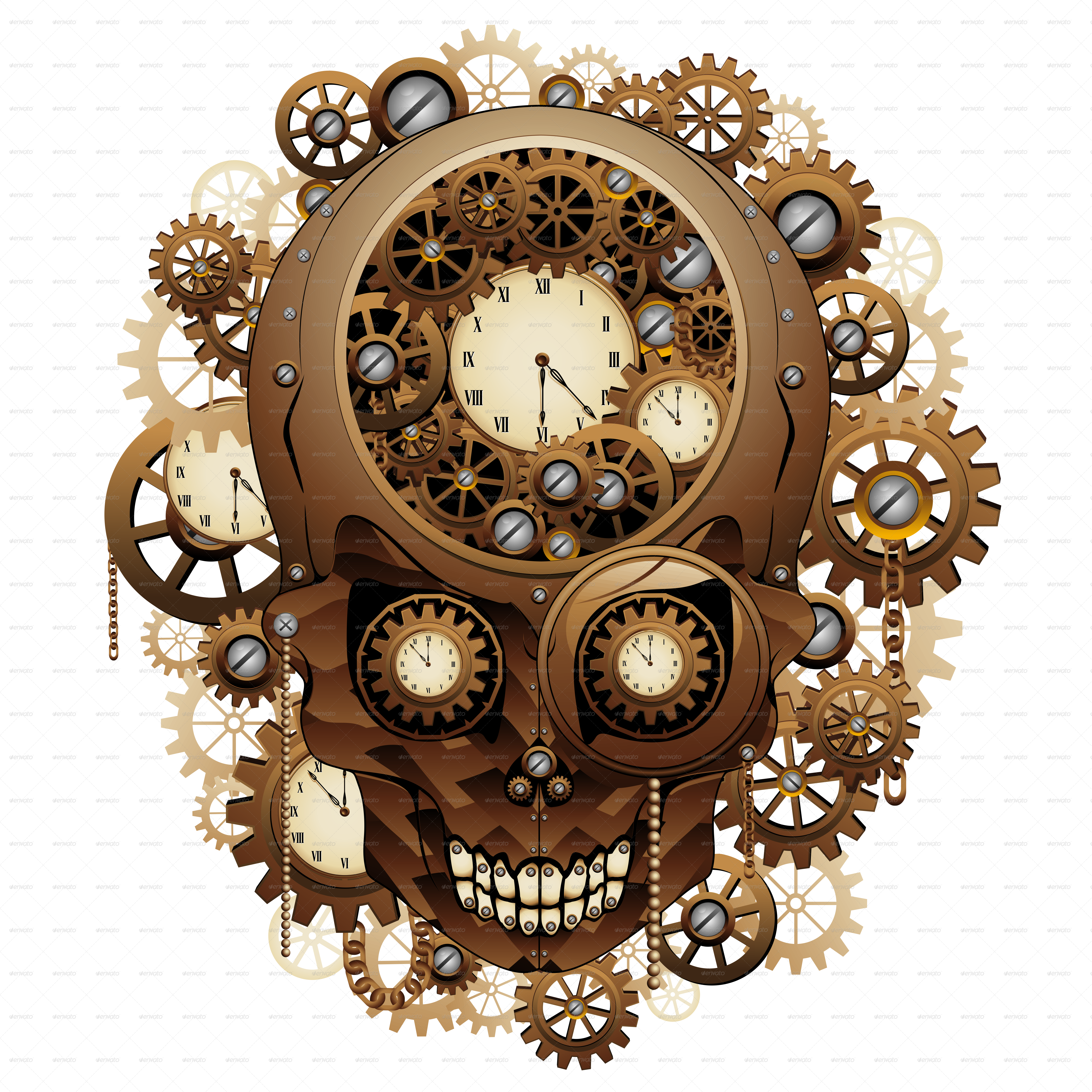 Steampunk skull vintage style by bluedarkat graphicriver b steampunk skull jpg 900g amipublicfo Images
