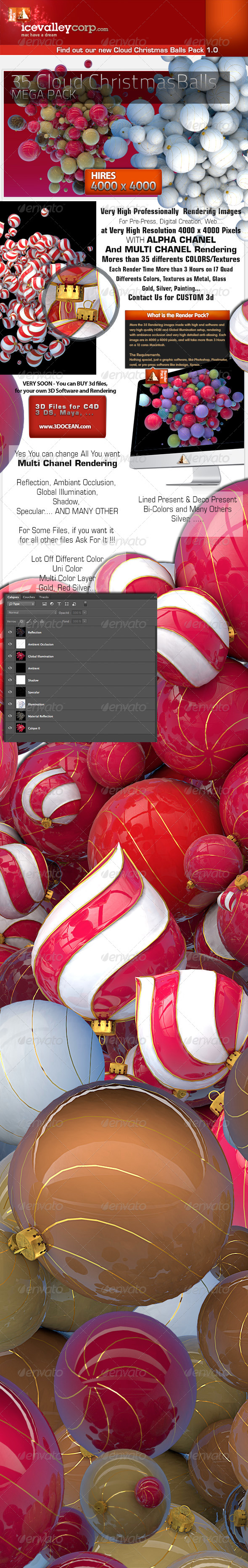 35 Incredible Christmas Cloud With Balls in HIRES - Objects 3D Renders