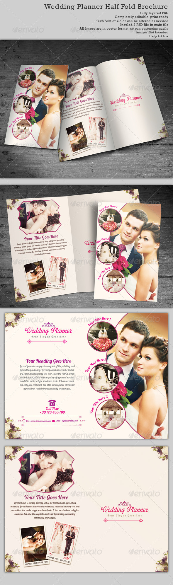 Wedding planner half fold brochure templates by for Wedding planner brochure template