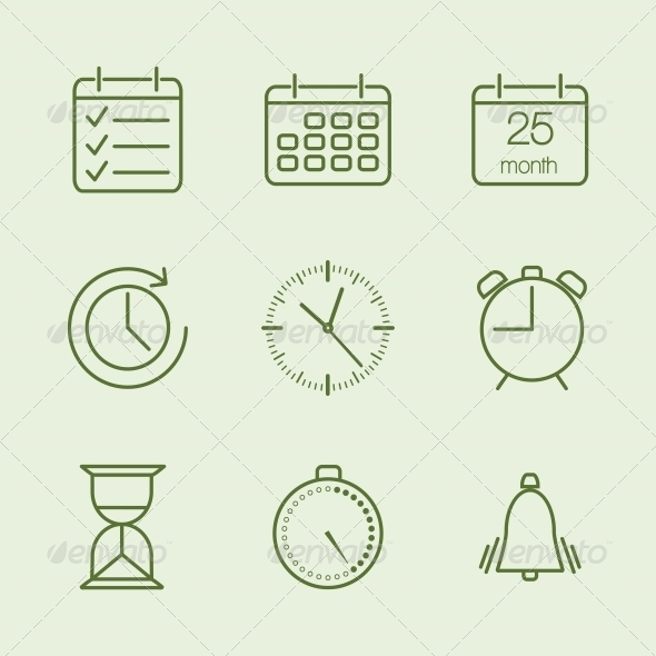 Contoured Time and Calendar Icons - Web Elements Vectors