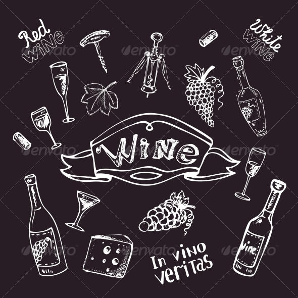 Wine Set on Chalkboard  - Decorative Symbols Decorative