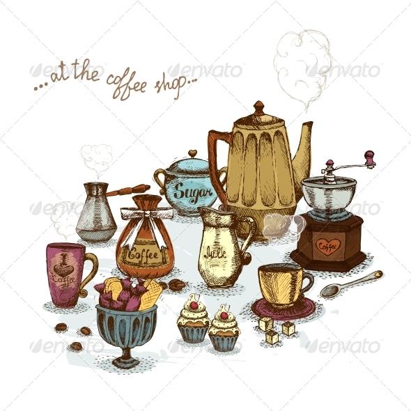 Coffee Shop Still Life - Food Objects