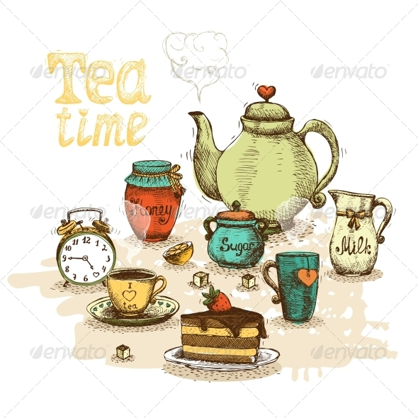 Tea Time Still Life - Food Objects