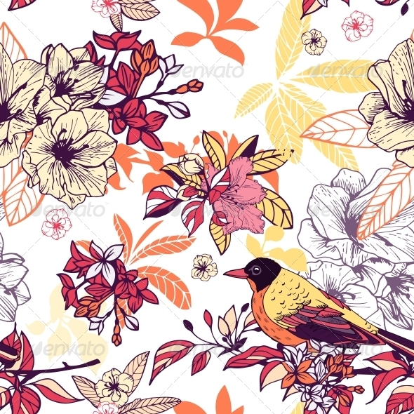 Seamless Floral Pattern with Bird - Backgrounds Decorative