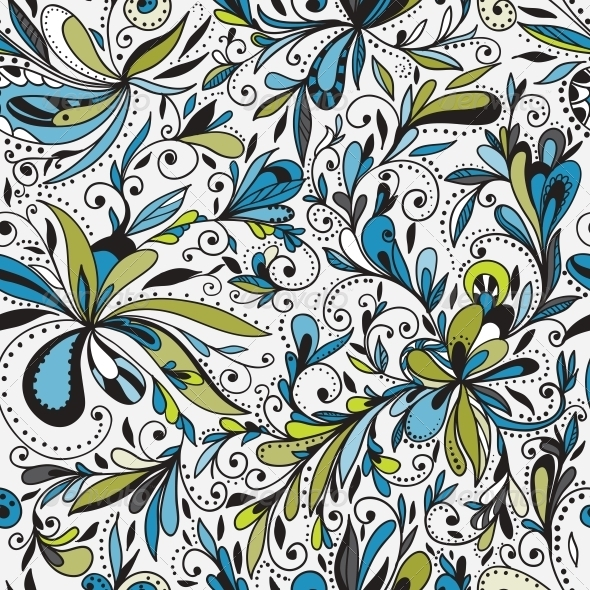 Seamless Doodle Floral Background - Backgrounds Decorative