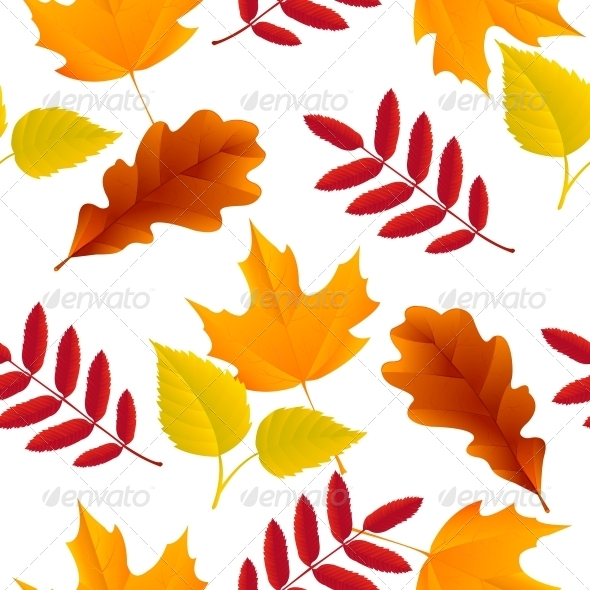 Seamless Autumn Leaves Pattern - Backgrounds Decorative