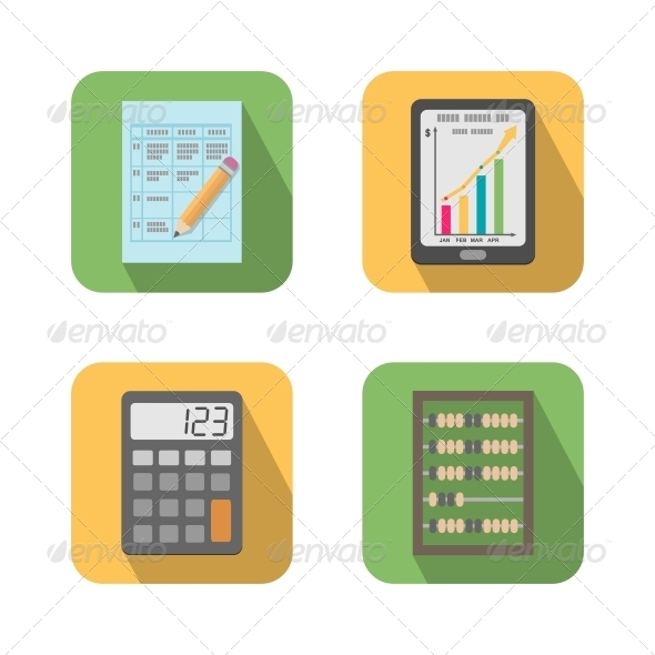 Set of Financial Business Tools - Web Elements Vectors