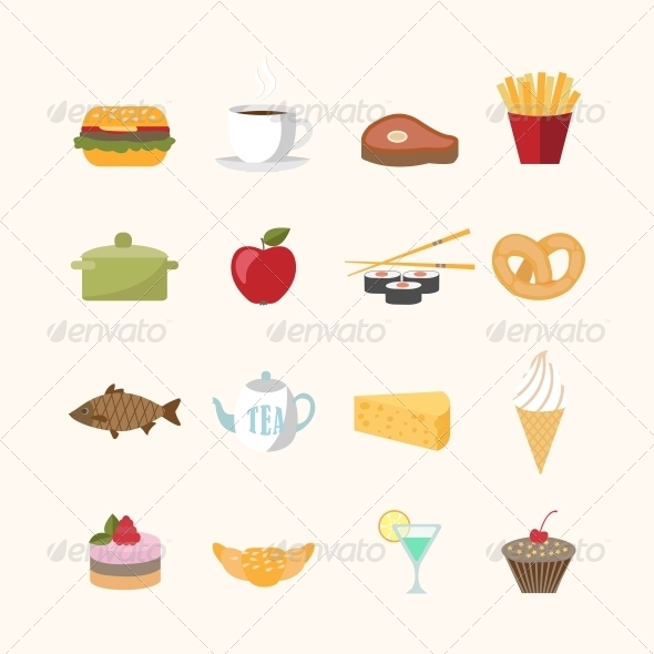 Food Icons in Flat Style - Web Elements Vectors
