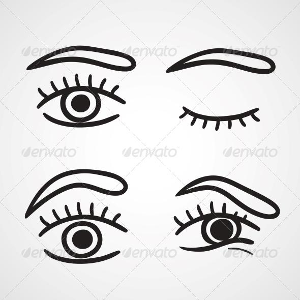 Eyes Icons Design - Decorative Symbols Decorative