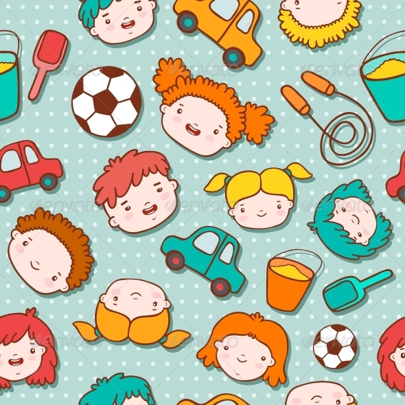 Seamless Doodle Kids Background - Backgrounds Decorative