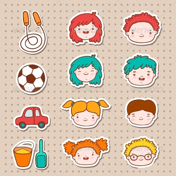 Doodle Kids Faces Icons - Web Elements Vectors