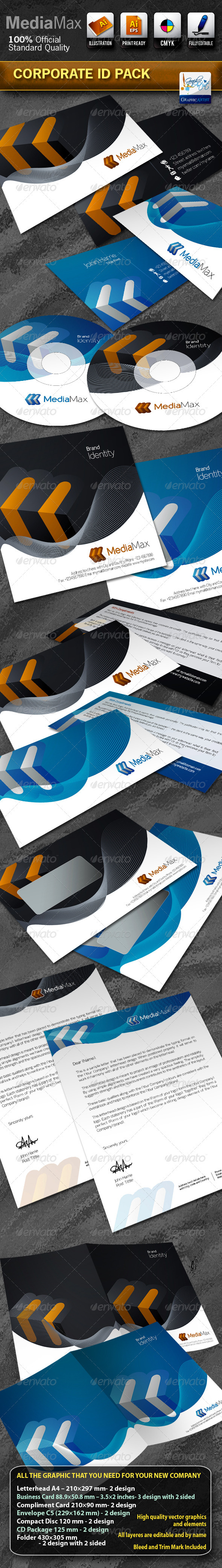 MediaMax Business Corporate ID Pack With Logo - Stationery Print Templates