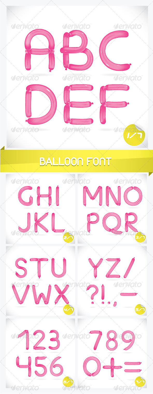Unique Glossy Balloon Font - Miscellaneous Characters