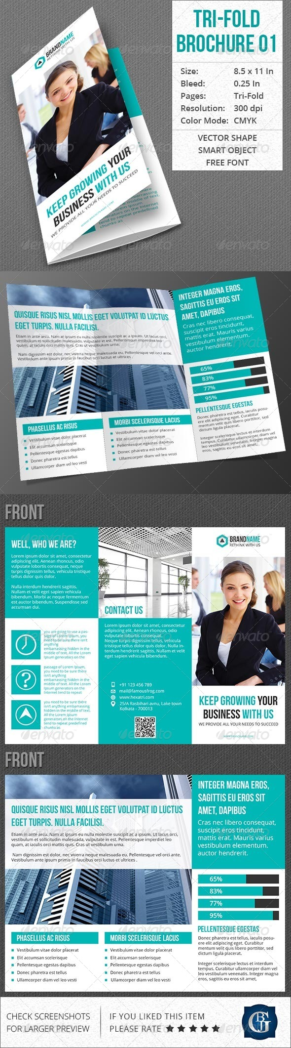 Corporate Multipurpose Trifold Brochure Vol 1 - Corporate Brochures