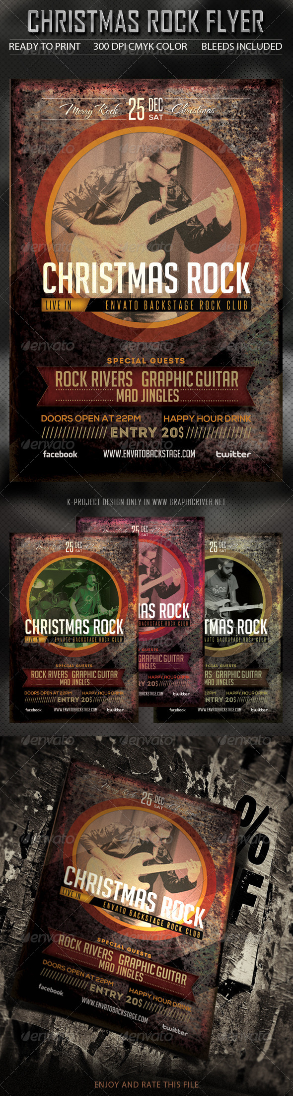 Rock Christmas Flyer - Clubs & Parties Events