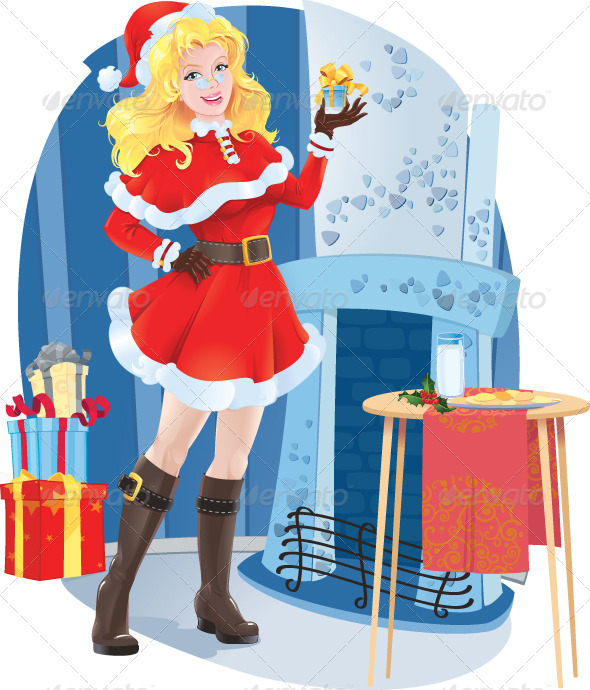 Santa girl with Christmas Present. - Christmas Seasons/Holidays