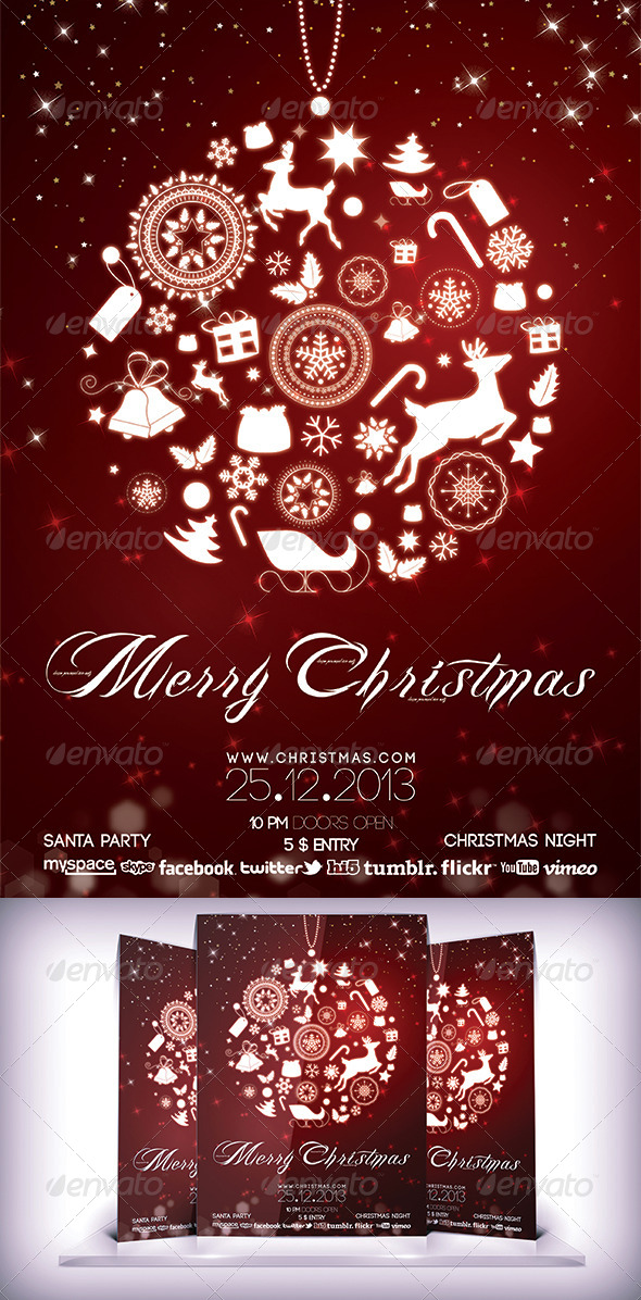 Christmas Night Party Flyer - Flyers Print Templates