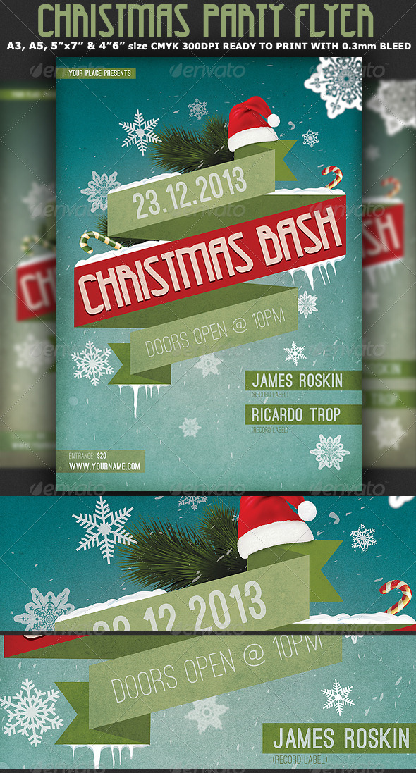 Christmas Bash Party Flyer Template - Clubs & Parties Events