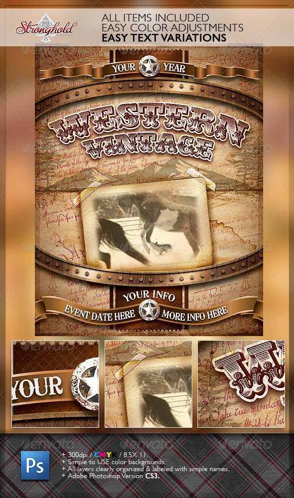 Vintage Western Crest Flyer Template - Events Flyers