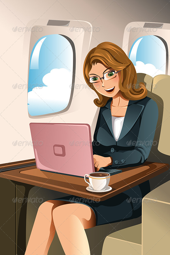Businesswoman in the Airplane - Business Conceptual