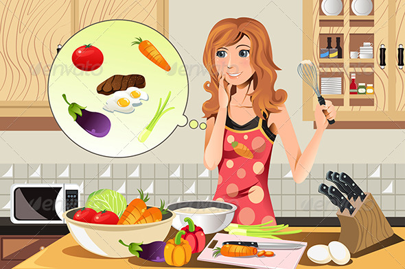 Cooking Woman - People Characters