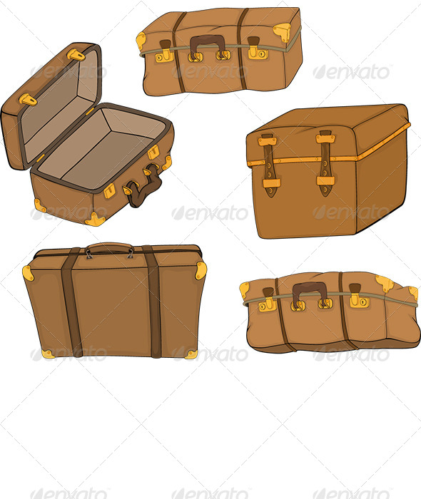 The Complete Set of Old Suitcases - Objects Vectors