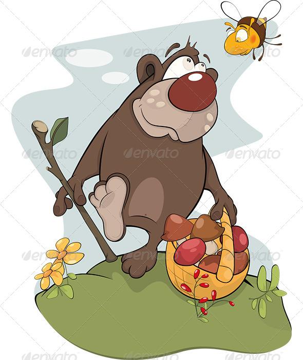 Bear and Bee. Cartoon  - Animals Characters