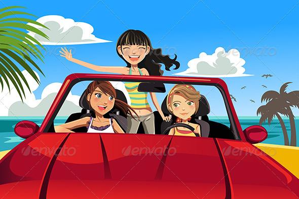 Friends in a Car - Travel Conceptual