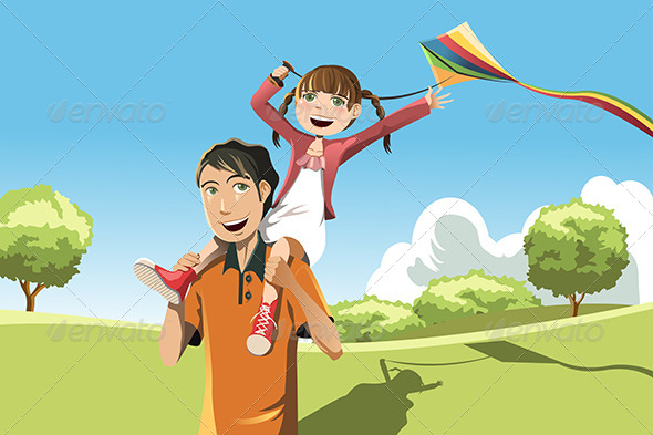 Father Daughter Playing Kite - People Characters