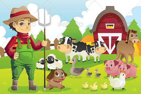 Farmer at the Farm with Animals - Characters Vectors