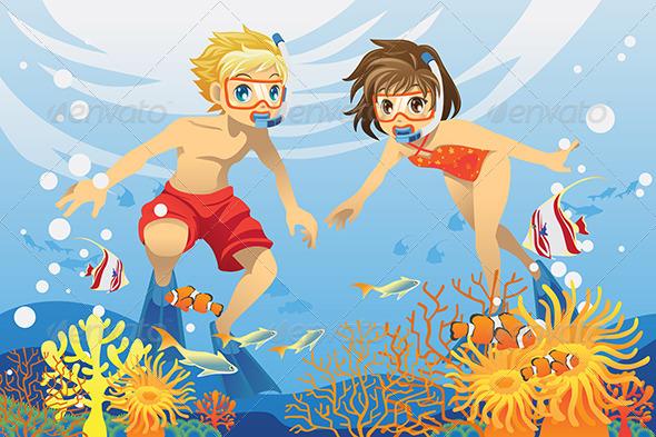 Kids Swimming Underwater - People Characters
