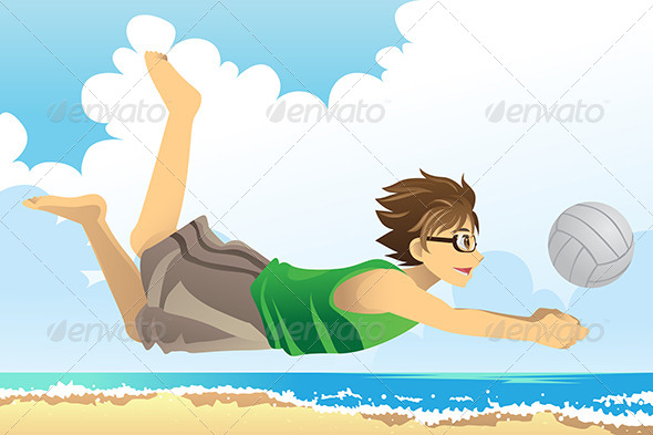 Man Playing Beach Volleyball - Sports/Activity Conceptual