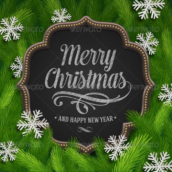 Chalkboard with Christmas Greeting - Christmas Seasons/Holidays