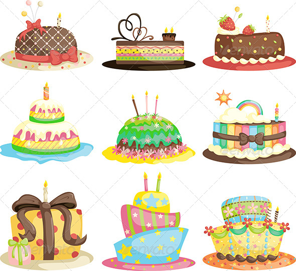 Birthday Cakes - Food Objects