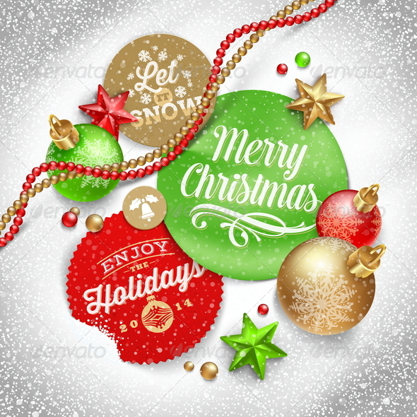 Labels with Christmas Greeting and Holiday Decor - Christmas Seasons/Holidays
