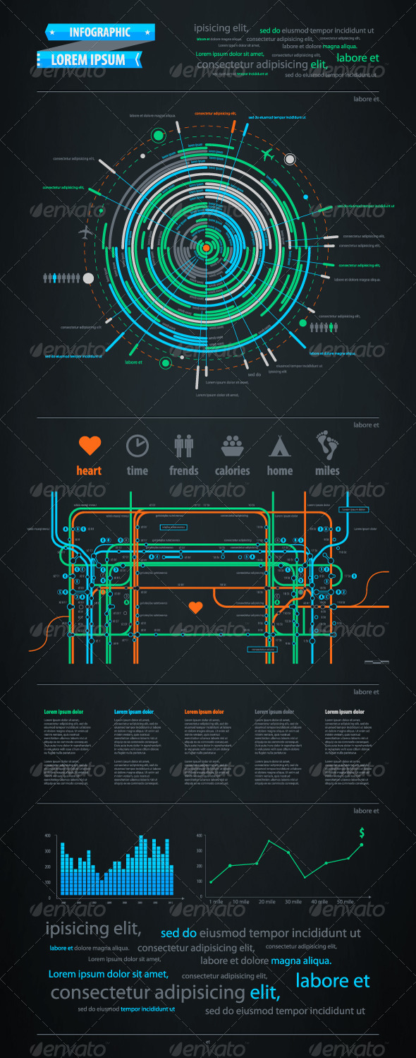 Infographics element with a map of the city  - Infographics
