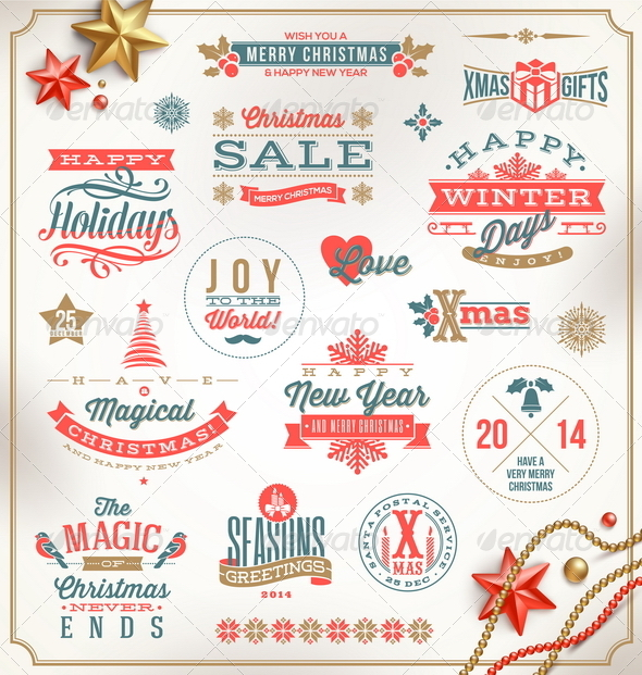 Set of Christmas Signs Emblems and Greetings - Christmas Seasons/Holidays