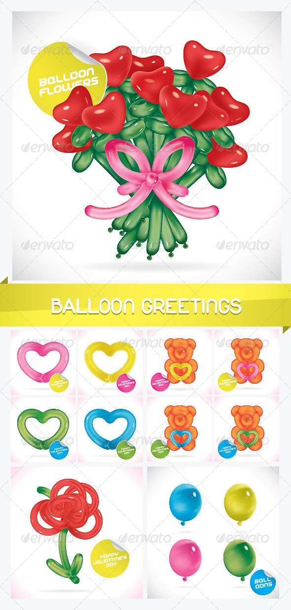 Unique Glossy Balloon Greeting Cards - Miscellaneous Characters
