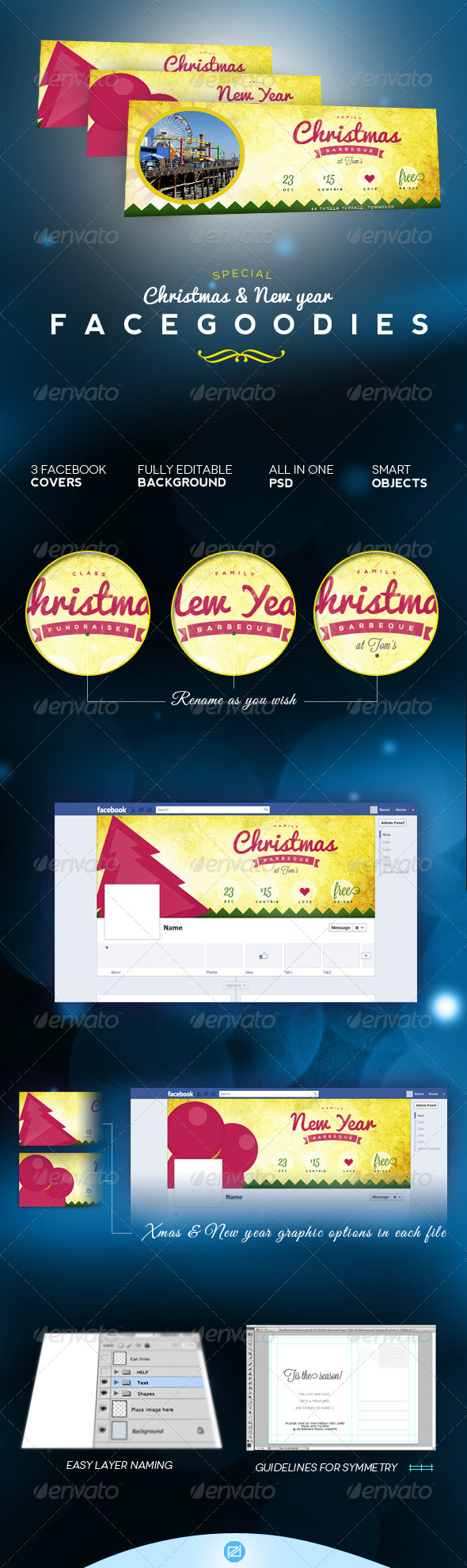 Christmas & New Year's Facebook Event Cover - Facebook Timeline Covers Social Media