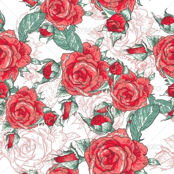 Seamless Rose Background  - Patterns Decorative