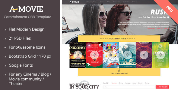 A.Movie – Cinema/Movie PSD Template