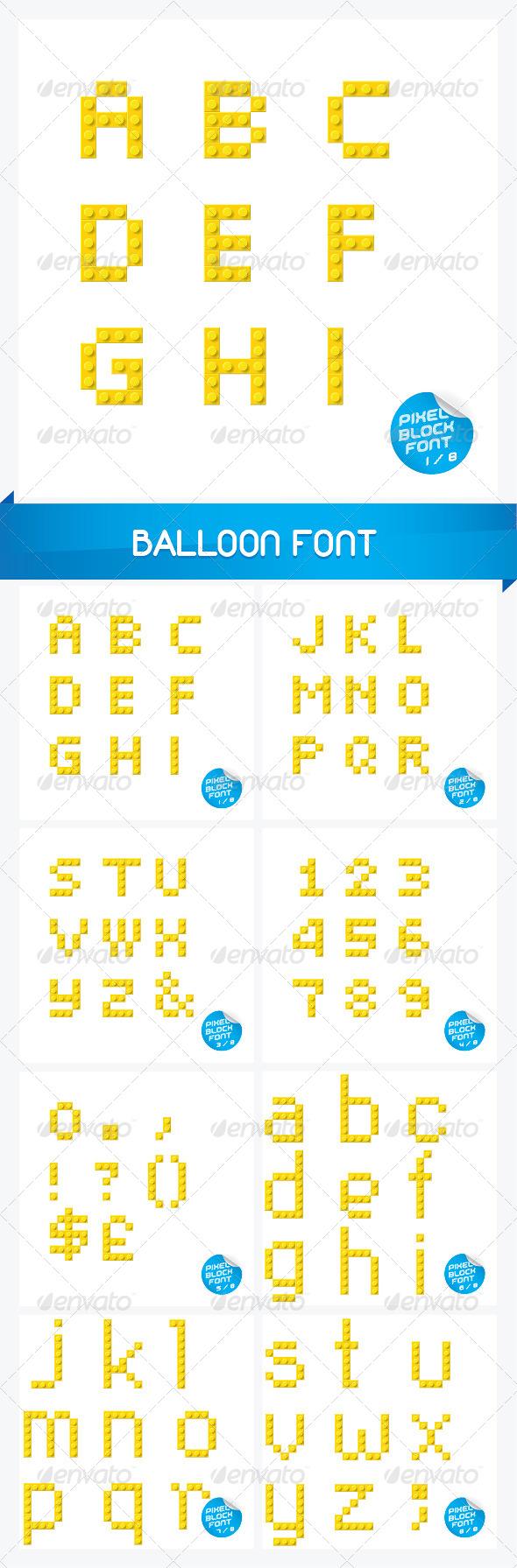 Pixel Block Font - Miscellaneous Characters