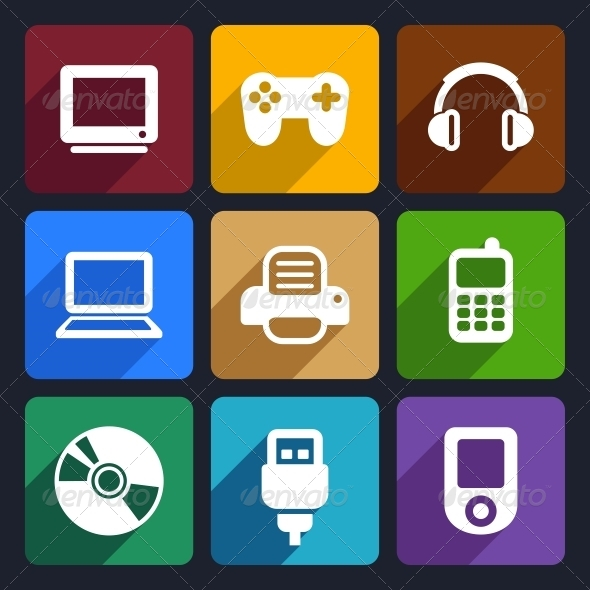 Multimedia Flat Icons Set 7 - Technology Icons