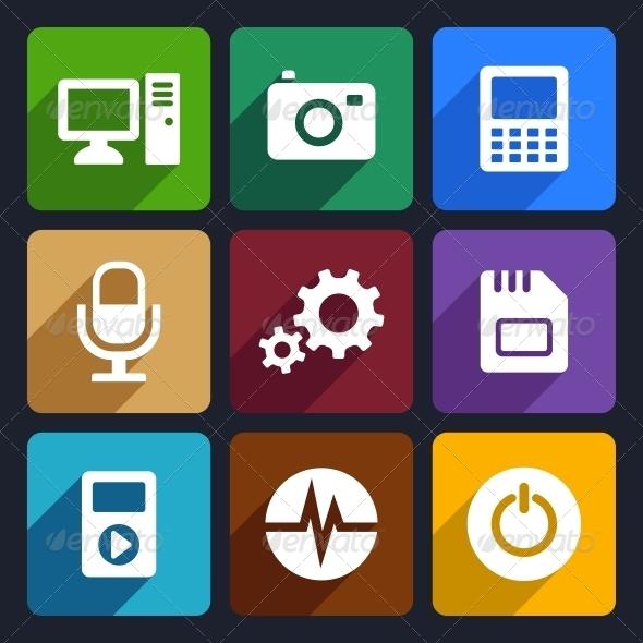 Multimedia Flat Icons Set 9 - Technology Icons