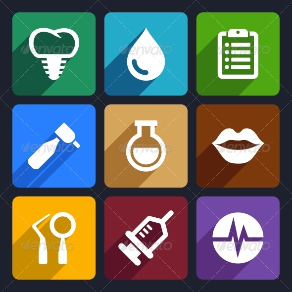 Dental Flat Icons Set 10 - Miscellaneous Icons